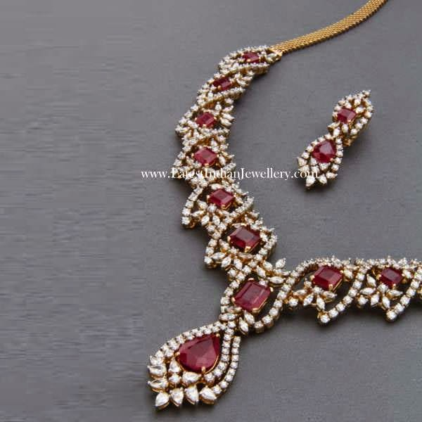 Attractive Diamond Ruby Necklace Design