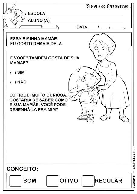 Atividade Projeto Identidade Dora Aventureira / Desenho e Roda de Conversa