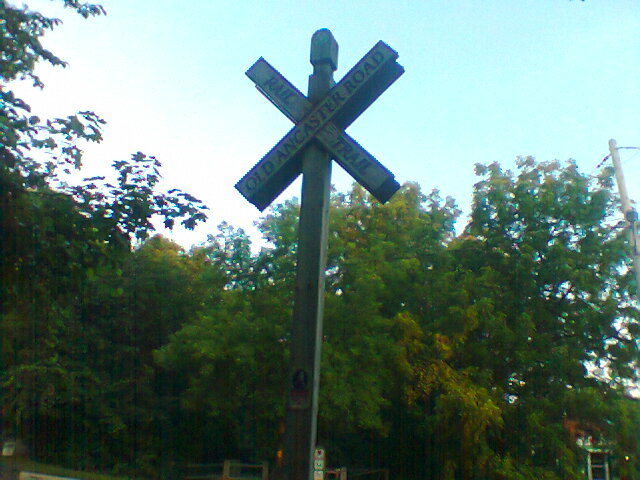 Hamilton-Brantford Rail Trail marker.