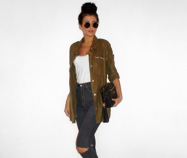 khaki jacket outfit pinterest
