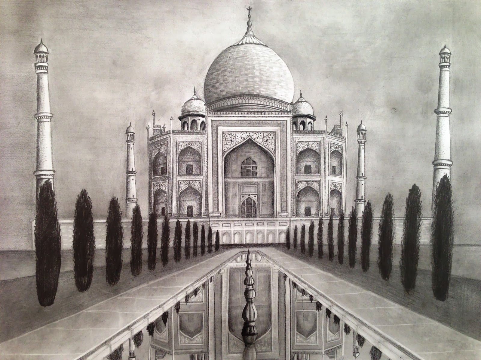 Dreams of an architect taj mahal pencil drawing for Architectural plans of famous buildings