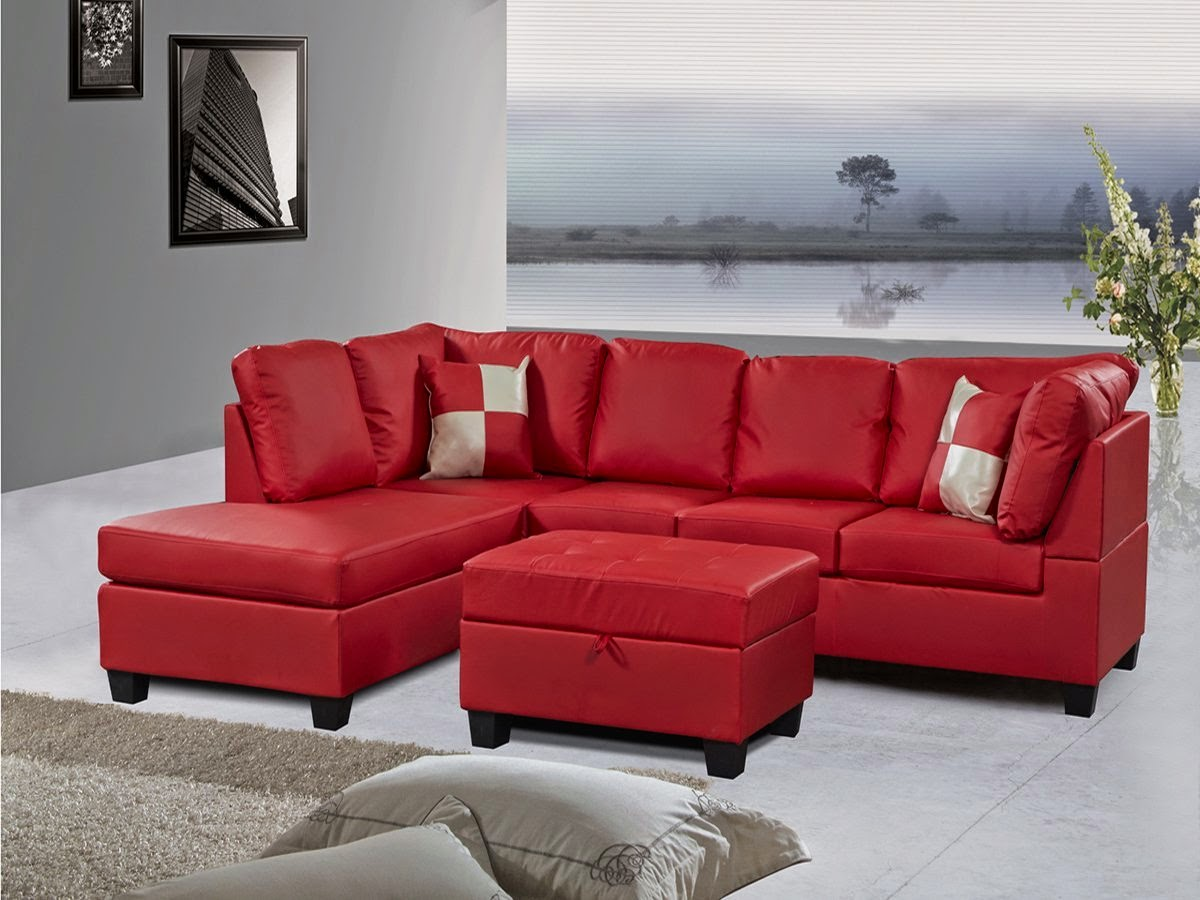 3-Piece Sectional Sofa Set with Storage Ottoman : red leather sofa sectional - Sectionals, Sofas & Couches