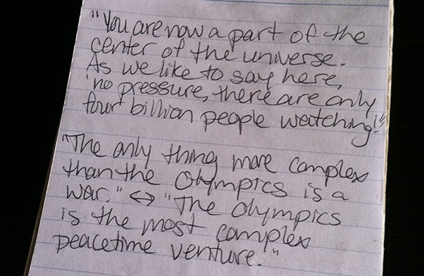 Notes taken in my reporter's notebook during London 2012 Ceremonies volunteer orientation