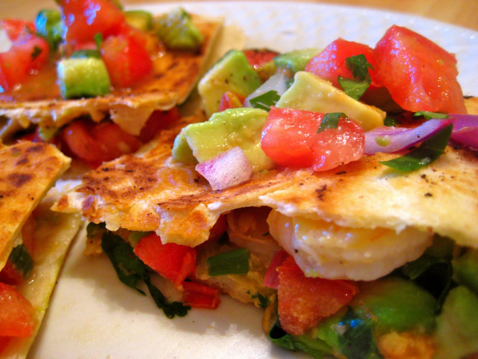 ... , still time to cook.: Shrimp Quesadillas with Tomato Avocado Salsa