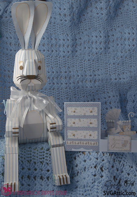 3d paper bunny and baby card