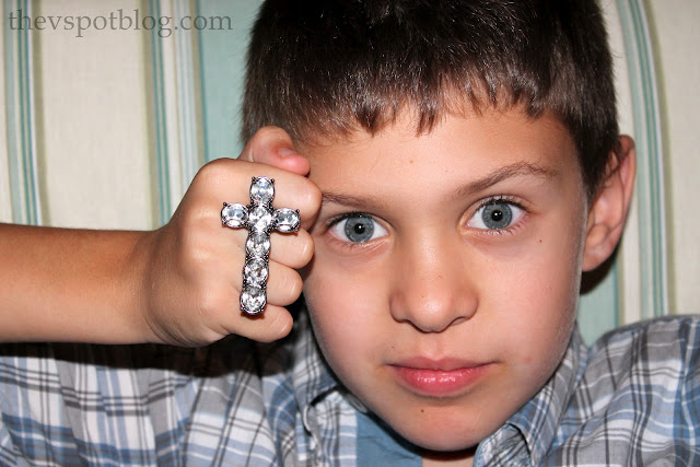 crucifix, cross, rhinestones, ring, double ring, band names