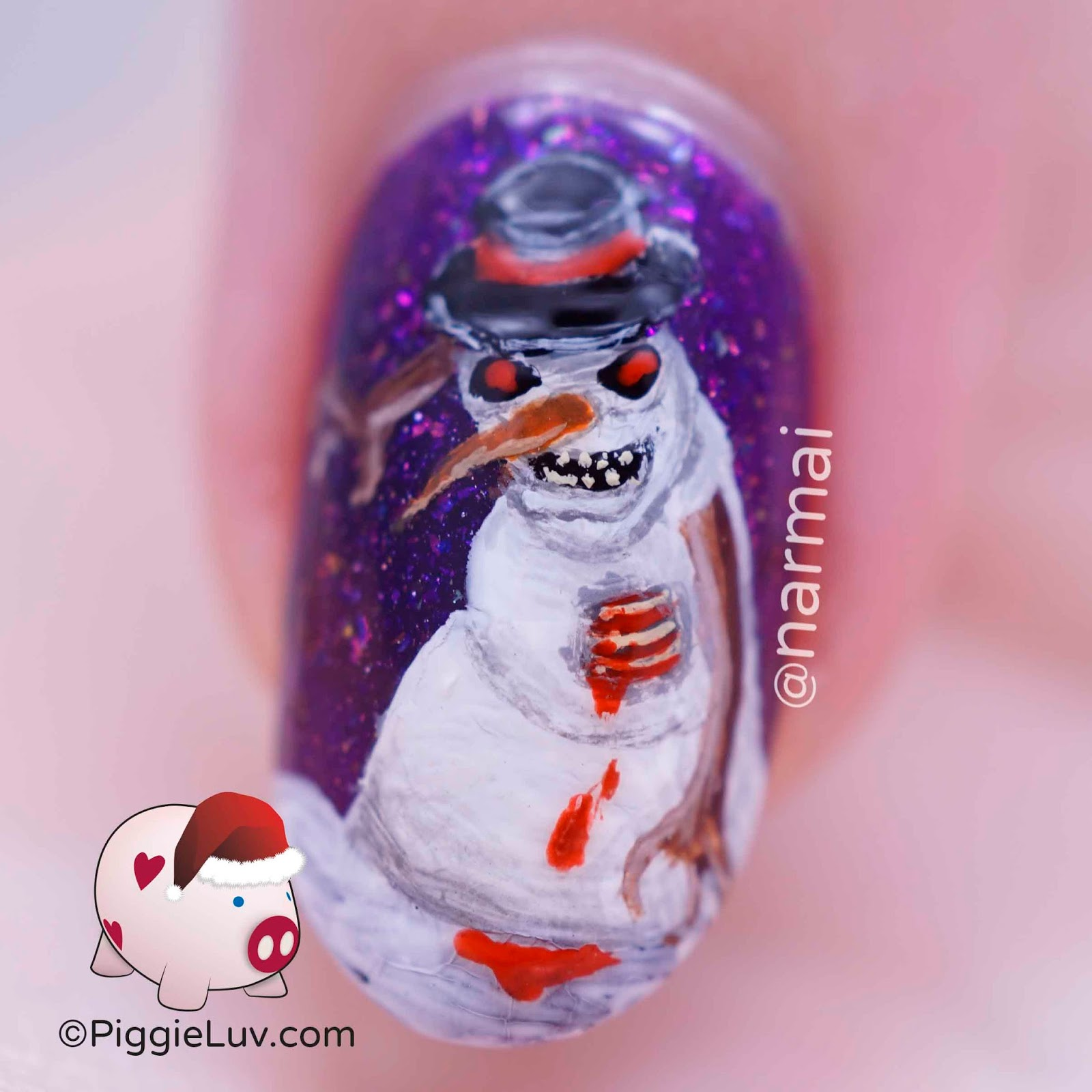 PiggieLuv: Christmas horror nail art - Zombie snowman & demonic presents