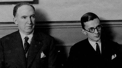Manuel Golmayo y el Dr. Ramón Rey Ardid en la presentación del Campeonato de España de Ajedrez 1930