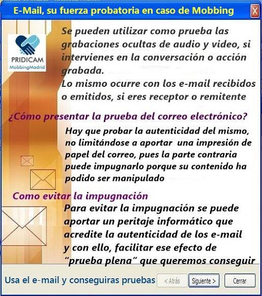 MobbingMadrid Correos electrónicos, su fuerza probatoria en caso de Mobbing