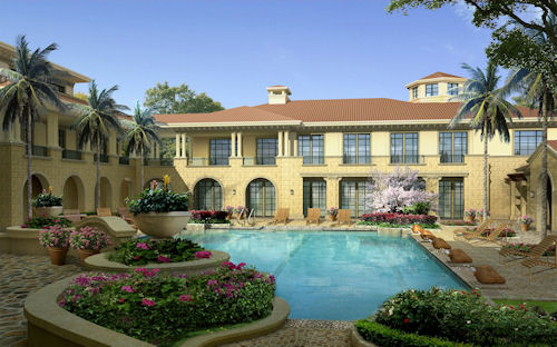 Casas lindas con jardines junto a ríos de agua clara
