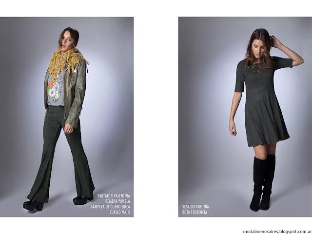 Moda otoño invierno 2016 La Cofradía vestidos, pantalones, camperas.