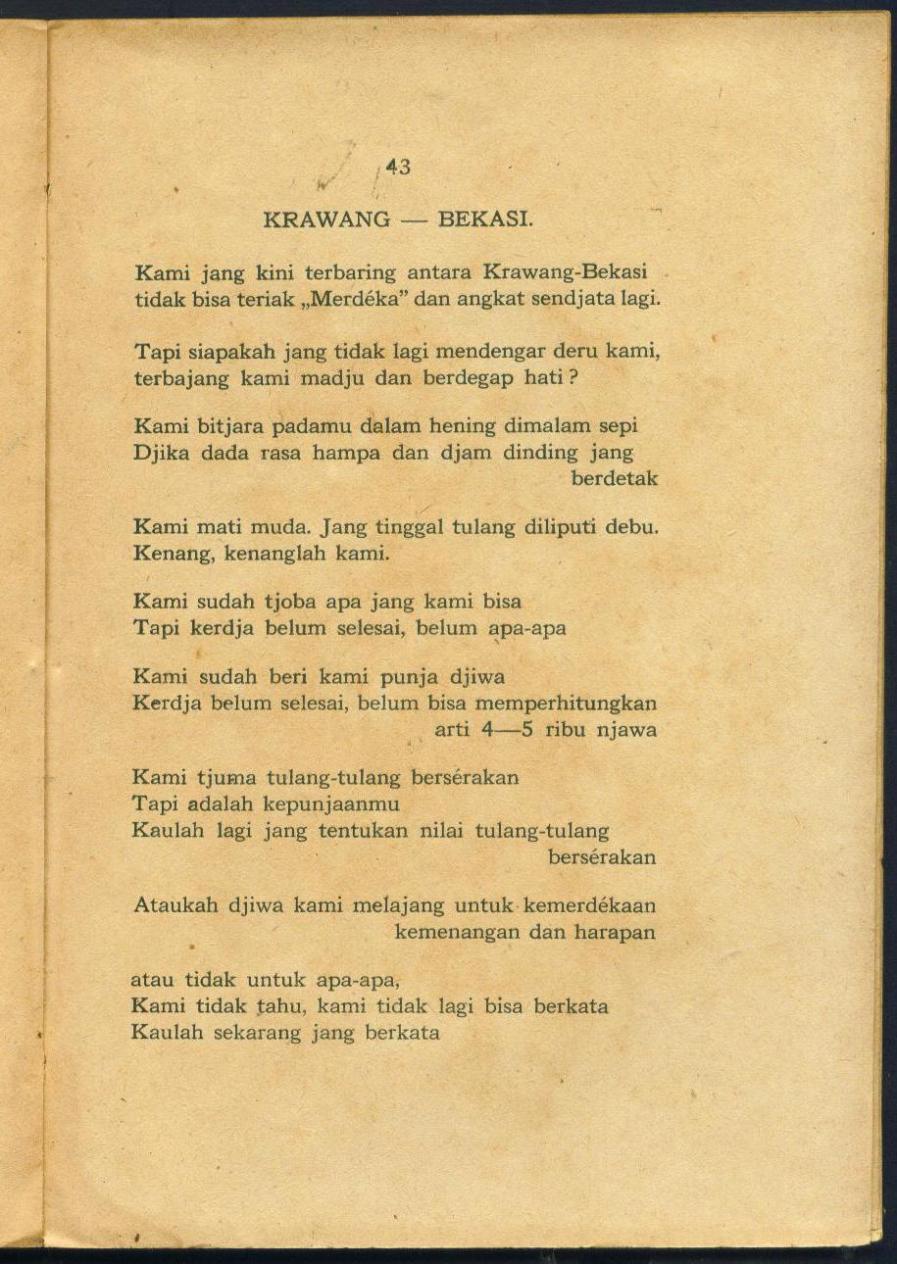 Koleksi Tempo Doeloe Buku Kuno Karangan Chairil Anwar Semasa Hidupnya Kumpulan Puisi Puisi Chairil Anwar Kerikil Tadjam Dan Jang Terampas Dan Jang Putus