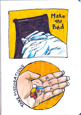Make the bed and take your meds. Watercolour with pen and ink by Ana Tirolese ©2012