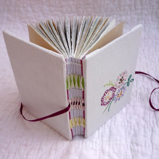 handmade handbound notebook fabric embroidered floral kate bowles