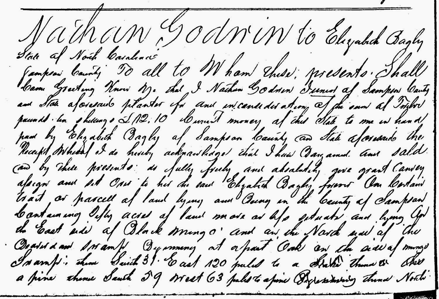 Deed Nathan Godwin to Elizabeth Bagley Sampson County NC 1801-1