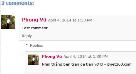 Khung comment phân cấp cho Blogspot