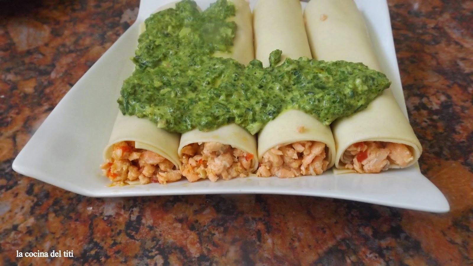 Canelones de salmon con crema de espinaca la cocina del titi - Canelones en microondas ...