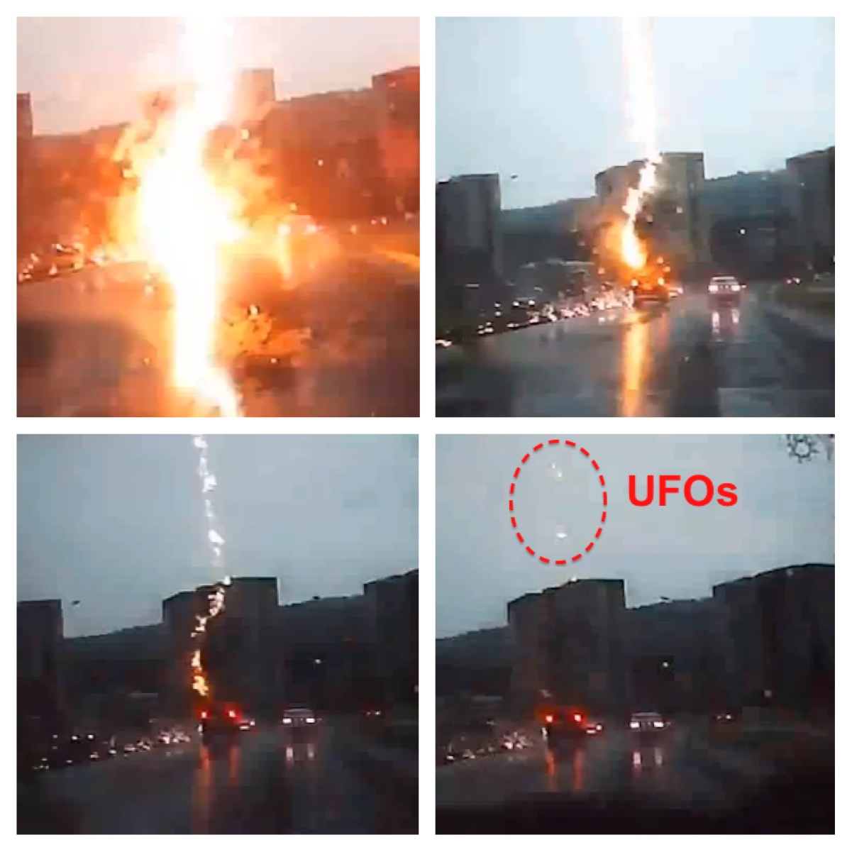 UFOs Seen A Second After Lightning Strikes SUV In Russia, Sept 2012