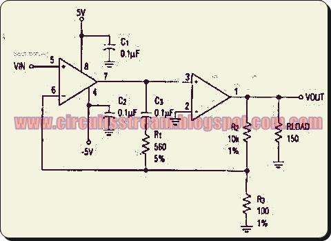 High Gain Wide Bandwidth Op Amp Circuit Diagram