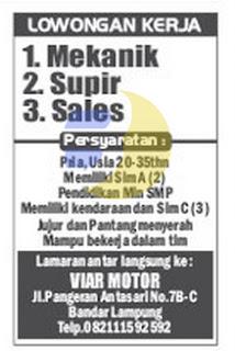 Lowongan Kerja VIAR MOTOR Lampung