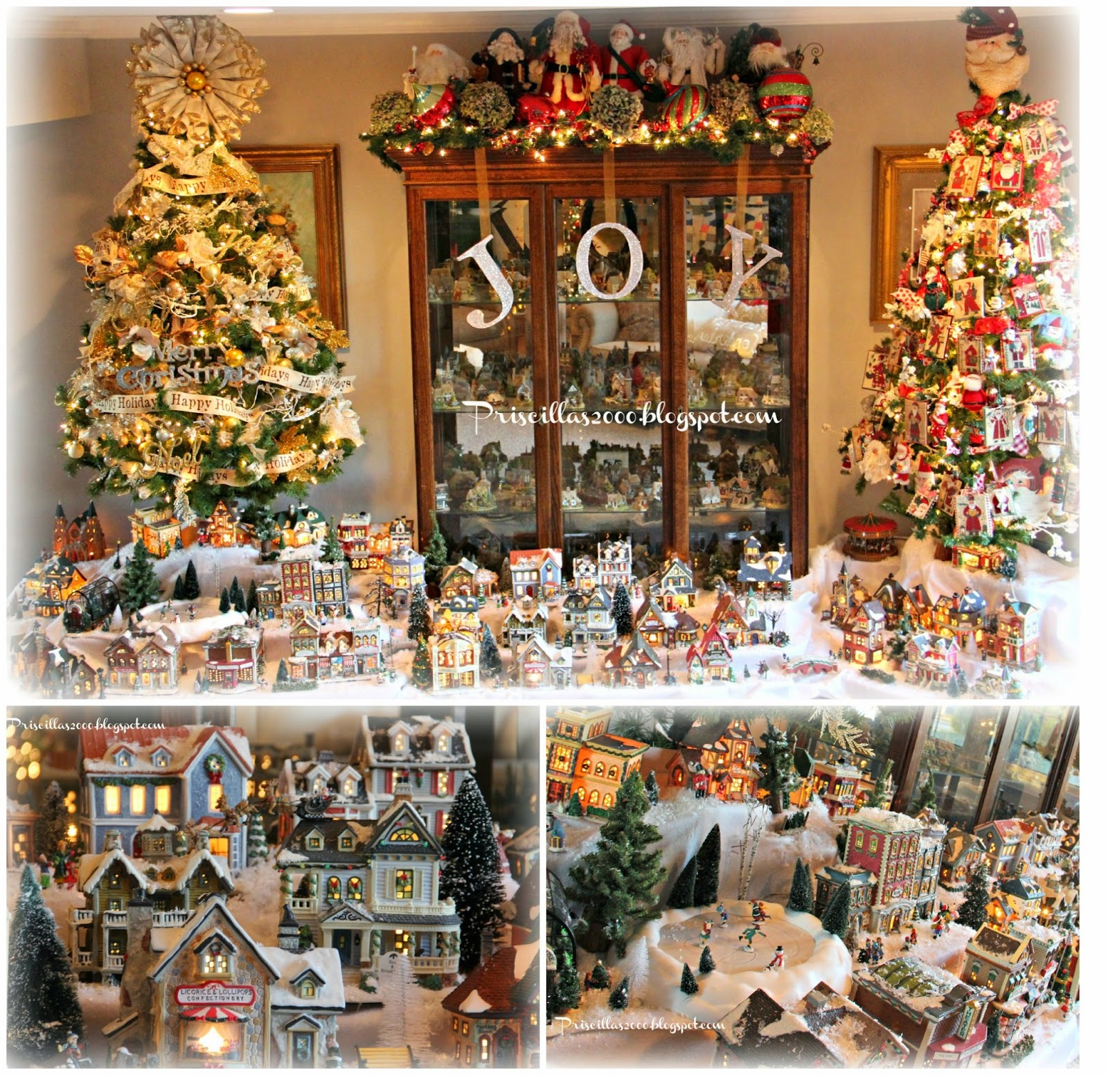 i am so excited to show you our christmas village for this year last year it wrapped around only the tree on the left