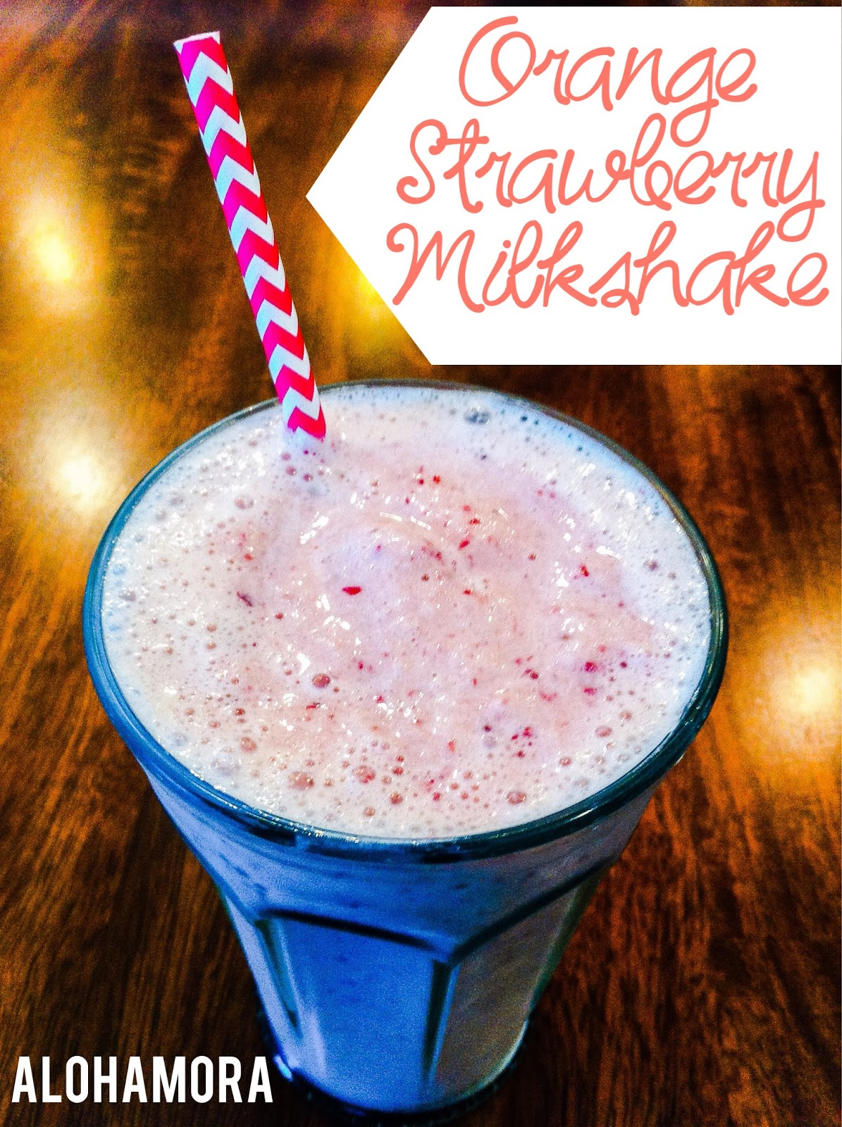 Fast, Easy, and Delicious Orange Strawberry Milkshake. Alohamora Open a Book http://alohamoraopenabook.blogspot.com/