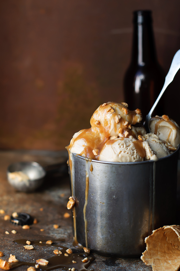 Brown ale ice cream with salty caramel and honeyed hazelnuts