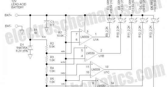 electronic tech feed  12v battery level indicator circuit