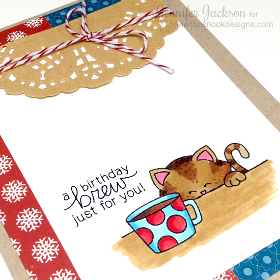 Holiday Coffee Lovers Blog Hop | Birthday coffee & Cat Card by Jennifer Jackson  | Newton Loves Coffee Stamp set by Newton's Nook Designs #newtonsnook