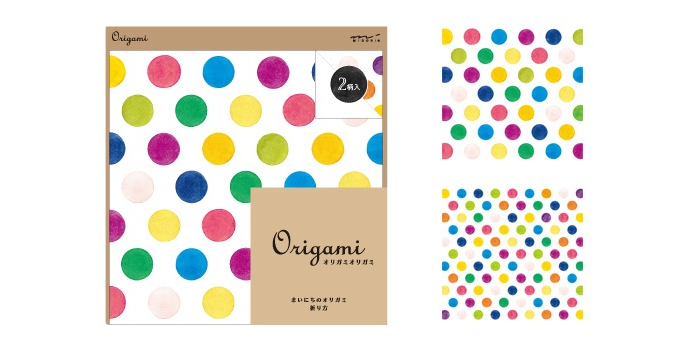 midori japan origami paper craft supplies polka dots spots watercolour