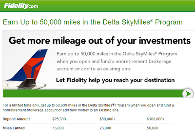 Delta Airlines Fidelity 50,000 miles promotional offer