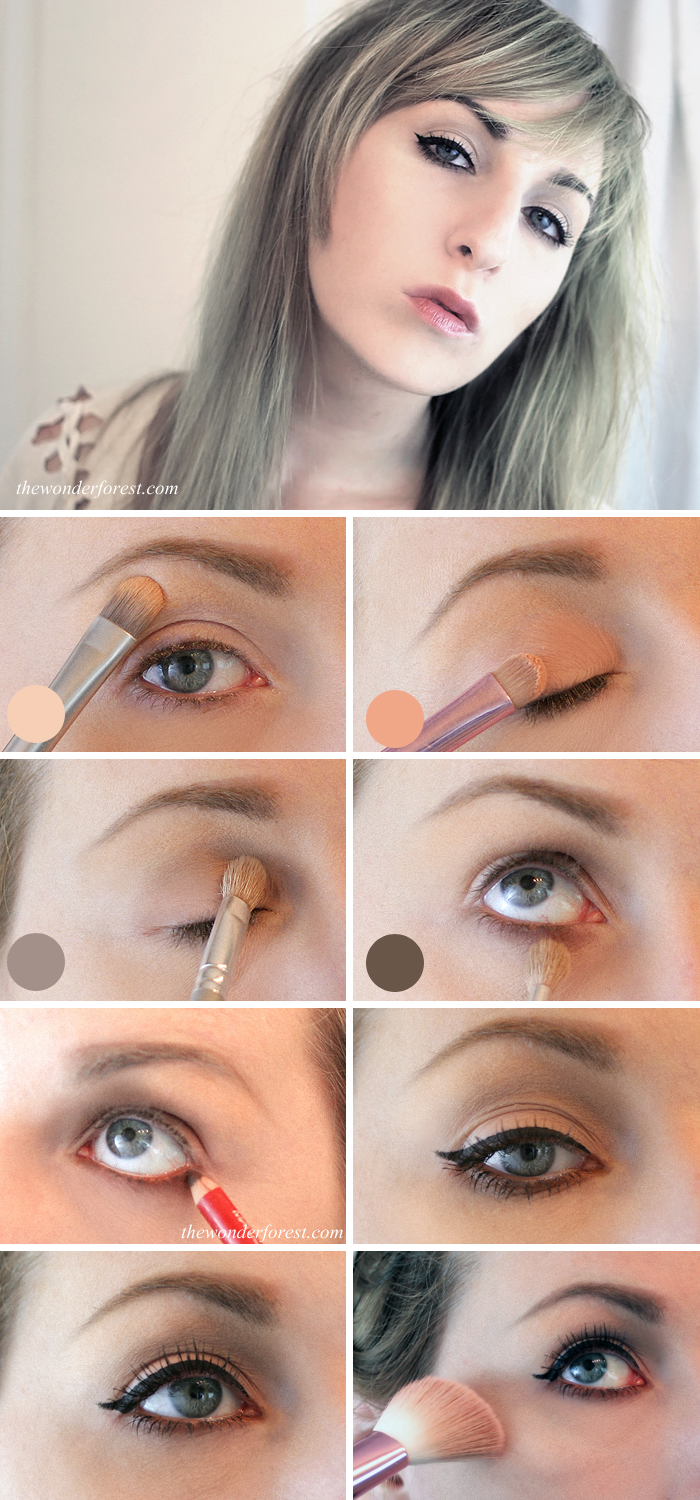 Step 1: Highlight your brow bone with a light nude colour as shown in ...