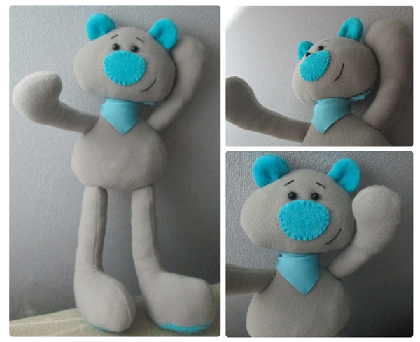 blue-nosed bear handmade soft toy, template, free printable pattern
