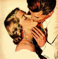 Vintage romance - couple kissing