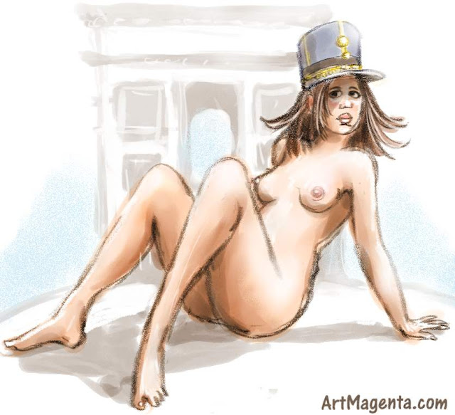 Life drawing model in a french military hat is a croquis sketch by artist and illustrator Artmagenta