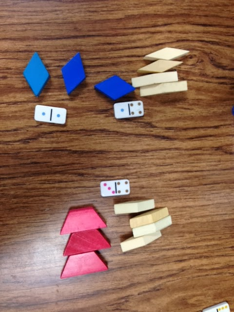 Kindergarten and mooneyisms domino addition with manipulatives