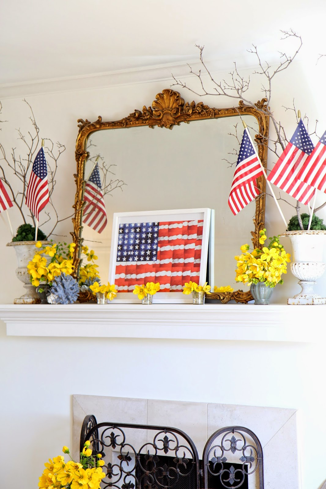 Fourth of July Decor; Yellow Flowers and American Flags; Nora's Nest