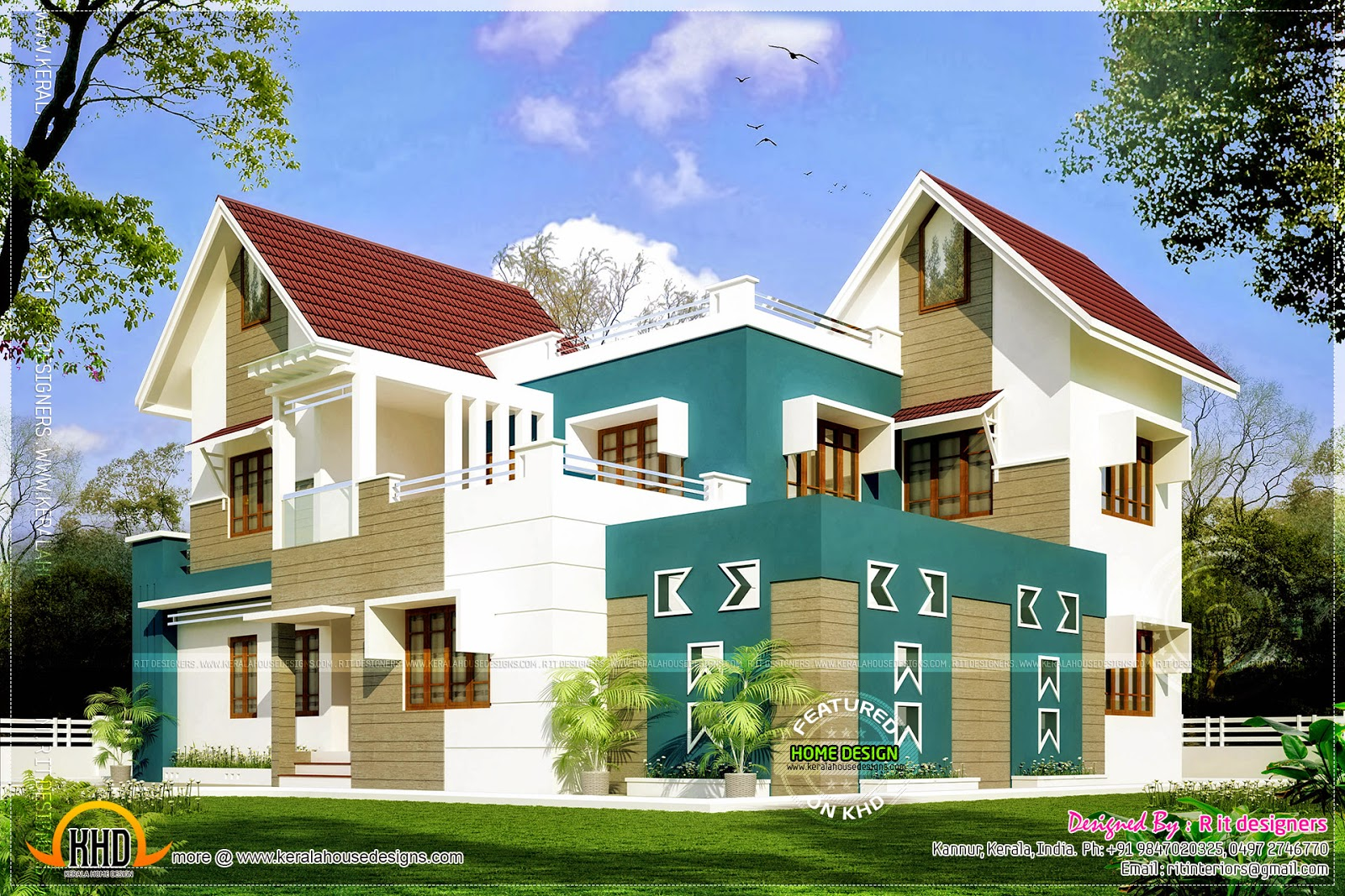 Modern Sloping Roof Home Design Kerala Floor Plans House Plans