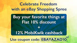 eBay : Get 10% Off + 12% Cashback on eBay's Aazadi Rocks Super Sale
