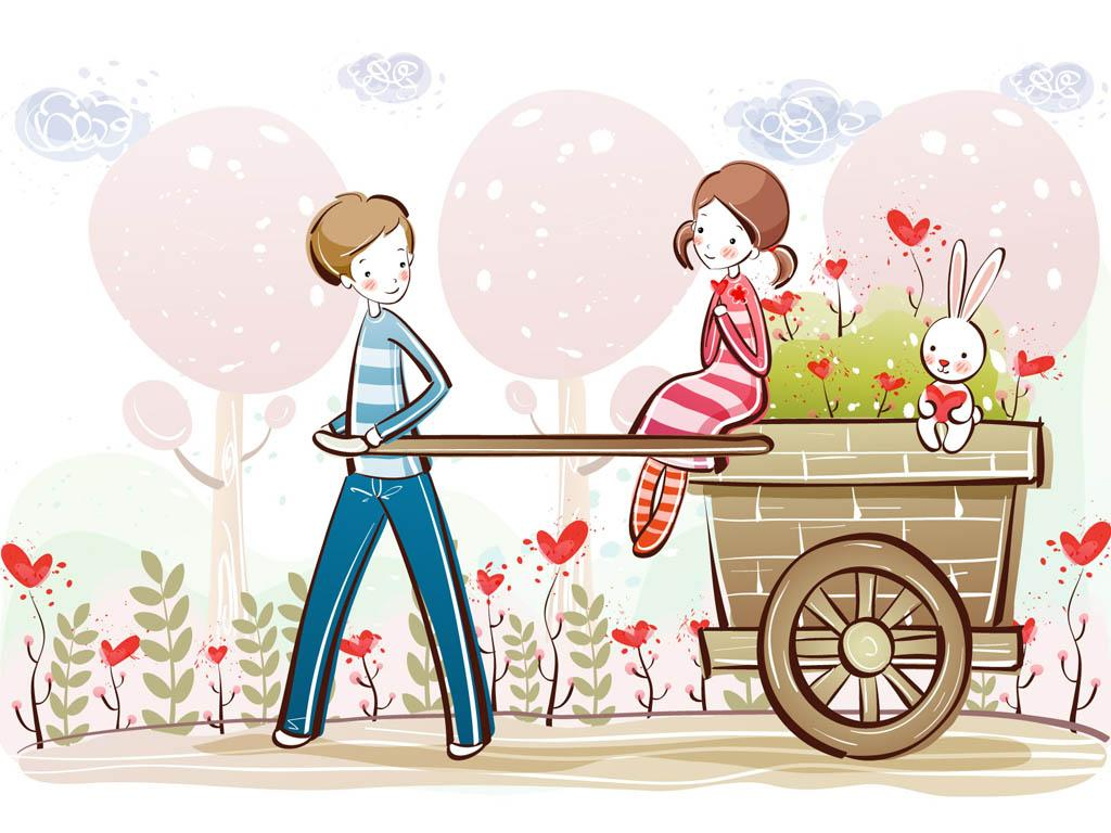 Cute Cartoon Couple Illustration Picture