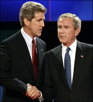 John Kerry shaking hands with George W. Bush at the 2004 Presidential debate