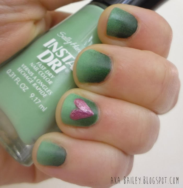 Green ombre nails using Sally Hansen's Jade Jump