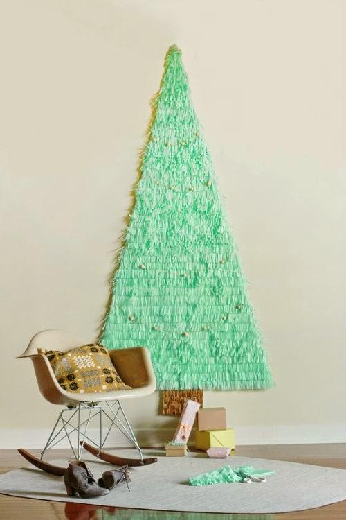 Arbol de Navidad de papel de seda color mint
