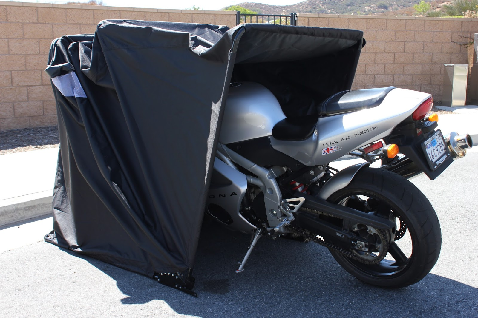 Retractable Motorcycle Cover Shelter, Drive In Motorcycle Enclosure, Cycle  Or Moped Garage Tent Cover