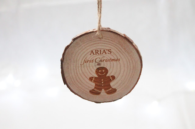 personalised baby's first christmas wooden hanging tree decoration