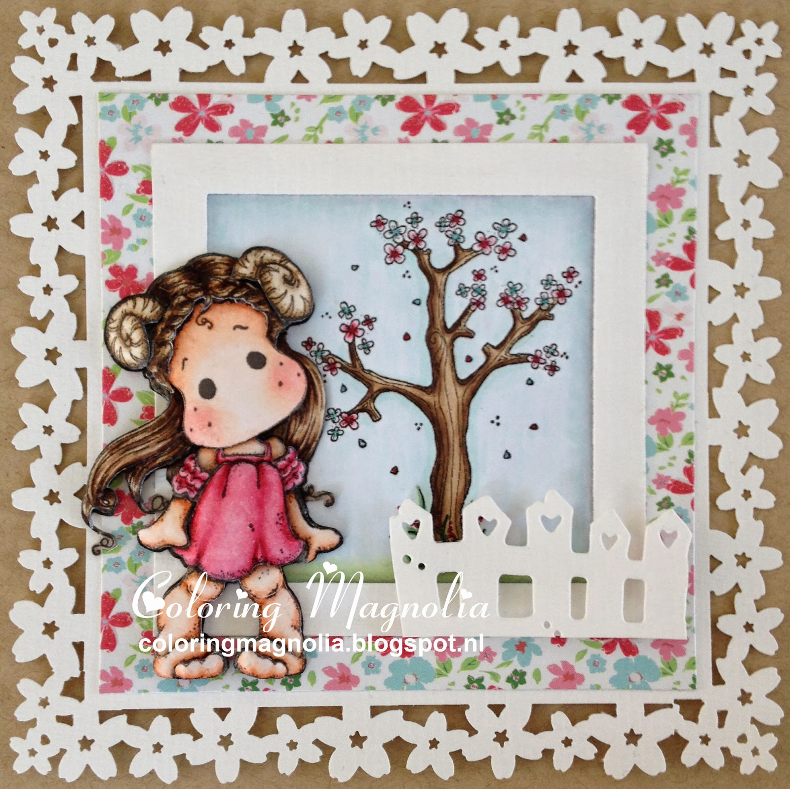 Coloring Magnolia Stamp 2014 Zodiac Collection - Aries Tilda - 3D Paper Piecing Card