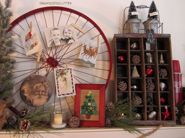 Bike Wheel Christmas Mantel