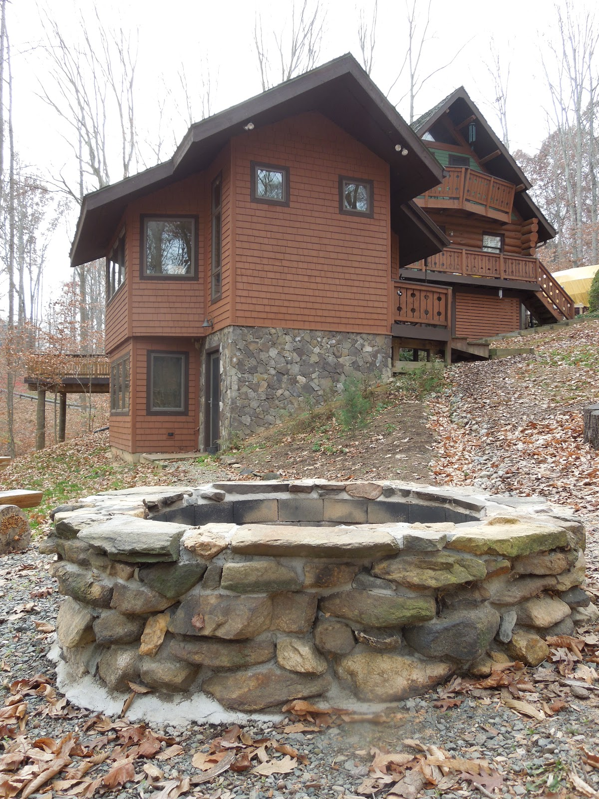 Rkcartboggle firepit and rustic chairs for Rustic outdoor fireplace ideas