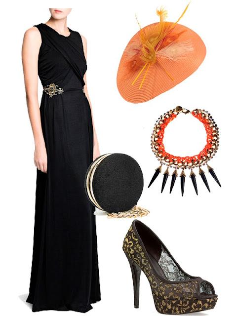 Look Invitada Boda Otoño. Vestido Negro y Complementos Naranja.