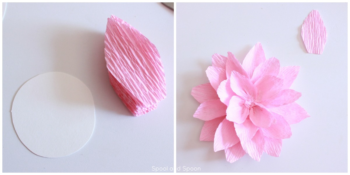 Spool and spoon paper flower gift topper tutorial crepe paper flower tutorial from spool and spoon perfect alternative to a bow mightylinksfo